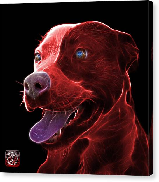 Red Pit Bull Fractal Pop Art - 7773 - F - Bb Canvas Print