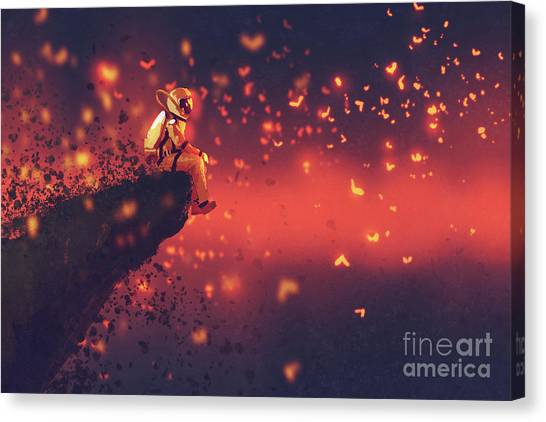Canvas Print featuring the painting Red Planet by Tithi Luadthong