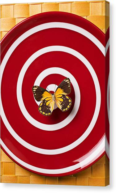 Bug Canvas Print - Red Plate And Yellow Black Butterfly by Garry Gay