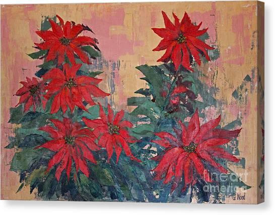 Red Poinsettias By George Wood Canvas Print