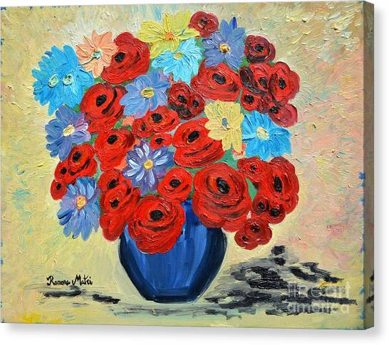 Red Poppies And All Kinds Of Daisies  Canvas Print
