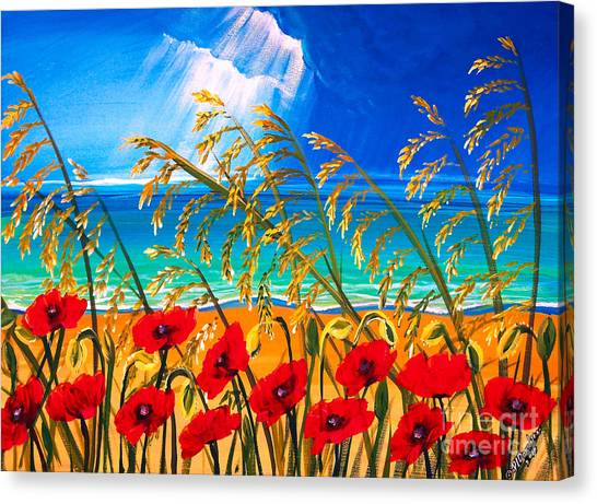 Red Poppies And Sea Oats By The Sea Canvas Print
