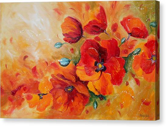 Red Poppies Impressionist Abstract Painting By Artist Ekaterina Chernova Canvas Print