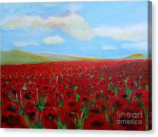 Red Poppies In Remembrance Canvas Print