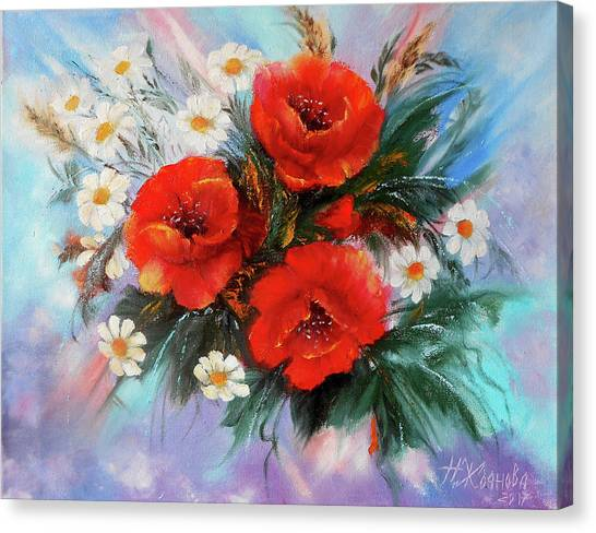 Red Poppies Painting Oil With A Palette Knife With Chamomile ...