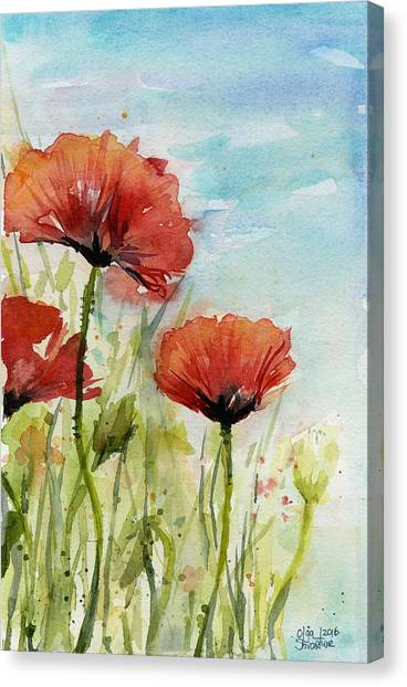 Poppies Canvas Print - Red Poppies Watercolor by Olga Shvartsur