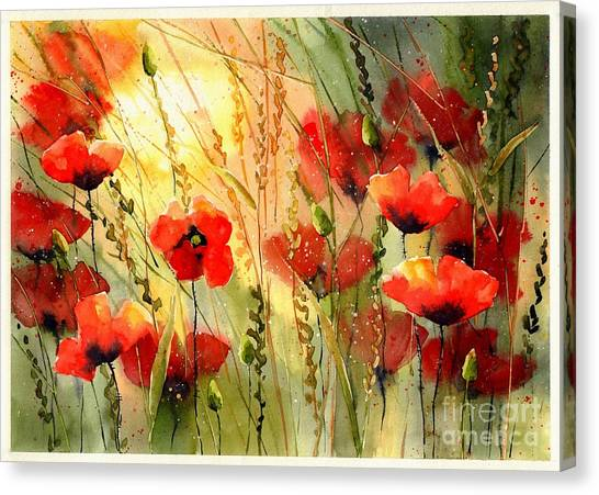 Ears Canvas Print - Red Poppies Watercolor by Suzann's Art