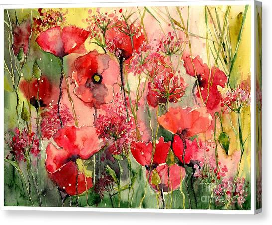 Wind Farms Canvas Print - Red Poppies Wearing Pink by Suzann's Art