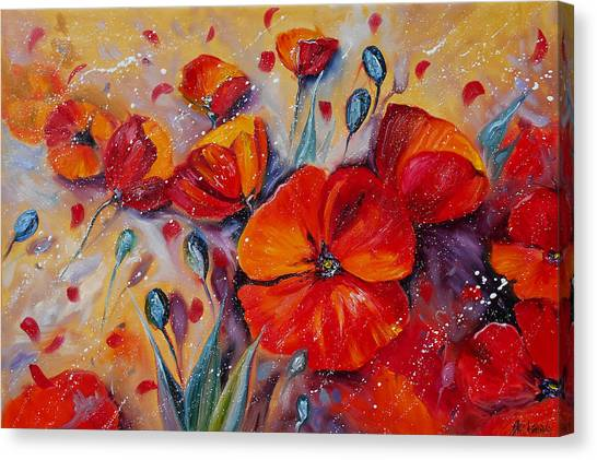 Red Poppy Meadows Canvas Print
