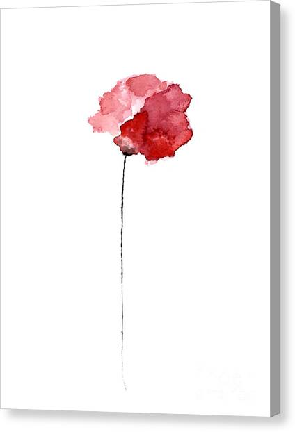 Flower Canvas Print - Red Poppy Watercolor Minimalist Painting by Joanna Szmerdt