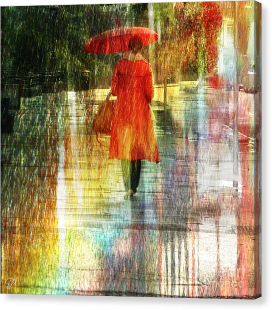 Red Rain Day Canvas Print