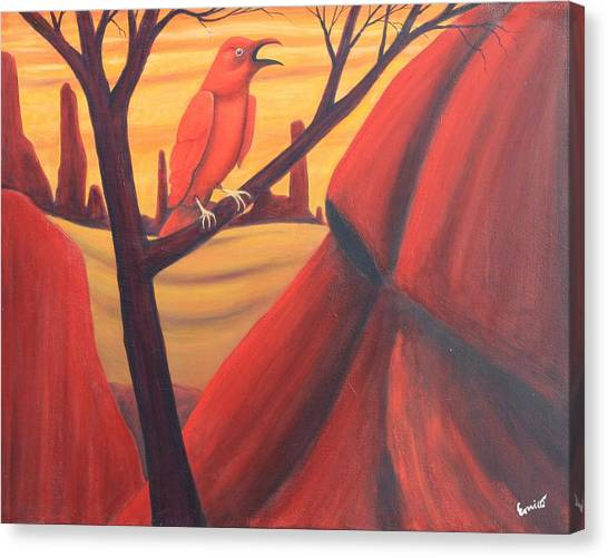 Red Raven Canvas Print