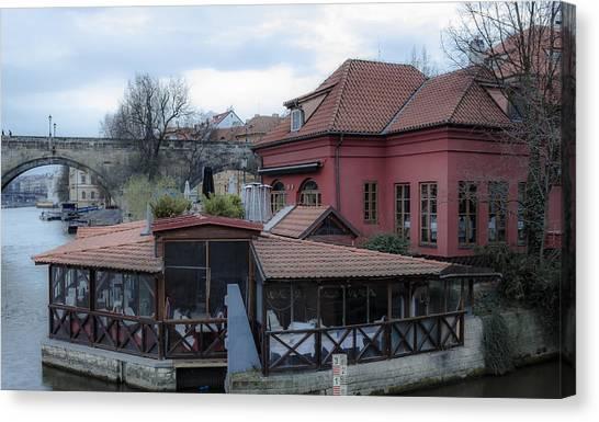 Red Restaurant On Vltava River Canvas Print by Marek Boguszak