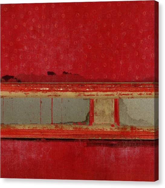 Books Canvas Print - Red Riley Collage Square 1 by Carol Leigh