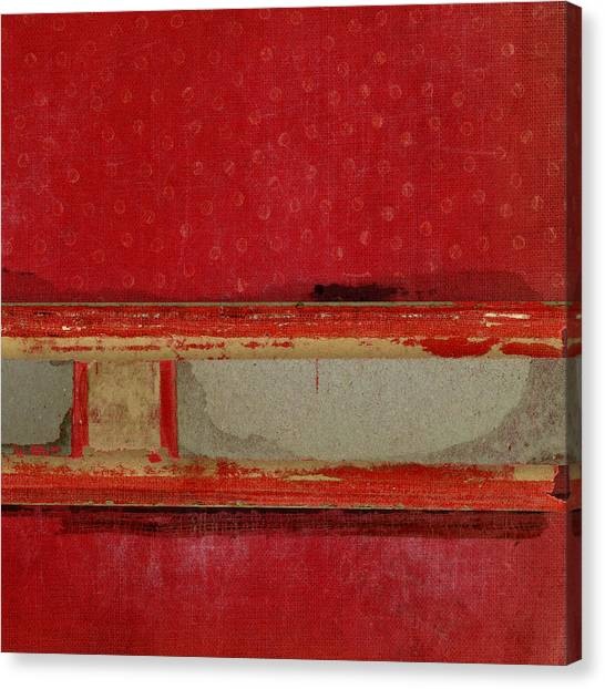 Books Canvas Print - Red Riley Collage Square 3 by Carol Leigh