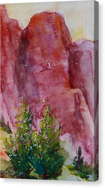 Red Rocks With Two Junipers Canvas Print by Sukey Watson