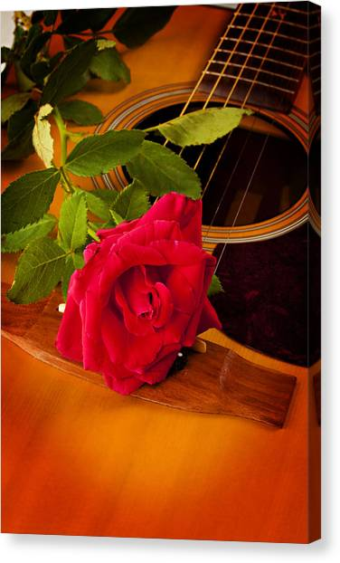 Red Rose Natural Acoustic Guitar Canvas Print