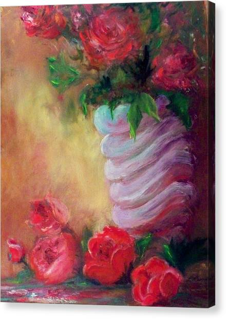 Red Roses For A Blue Vase Canvas Print by Lynda McDonald