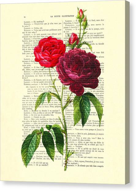 Wedding Gift Canvas Print - Red Roses For Valentine by Madame Memento