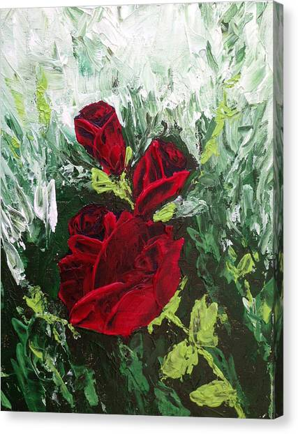 Red Roses Canvas Print - Red Roses In Bloom by Roxy Rich