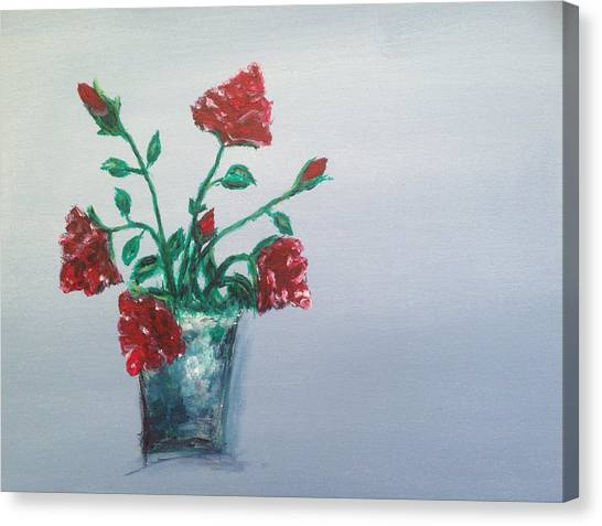Red Roses Canvas Print - Red Roses In Silver Pot by Roxy Rich