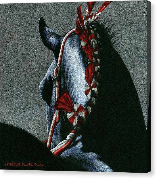 Draft Horses Canvas Print - Red Rosettes by Katherine Plumer