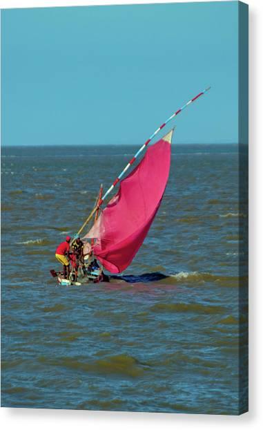 Red Sail Near Maputo Canvas Print