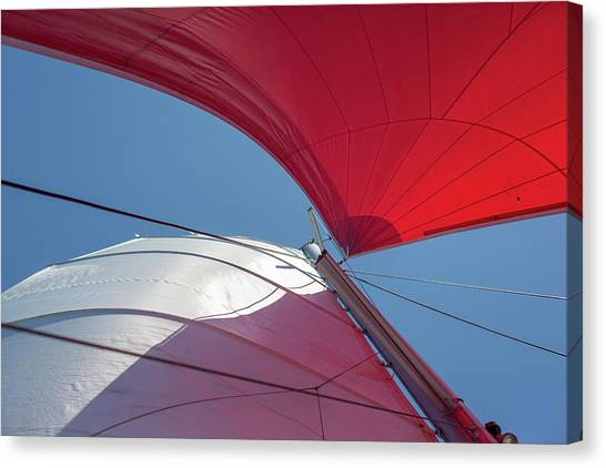 Canvas Print featuring the photograph Red Sail On A Catamaran 3 by Clare Bambers