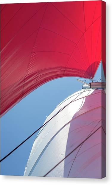 Canvas Print featuring the photograph Red Sail On A Catamaran 4 by Clare Bambers