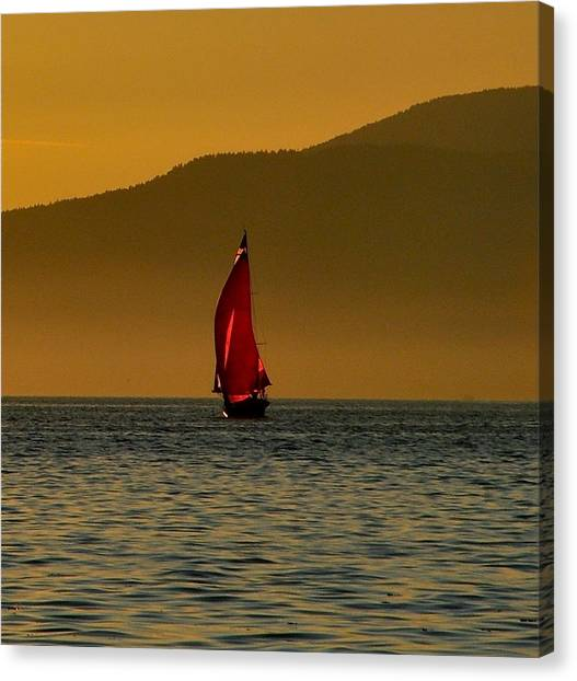 Red Sailboat Canvas Print