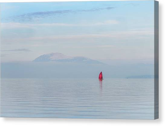 Red Sailboat On Lake Canvas Print