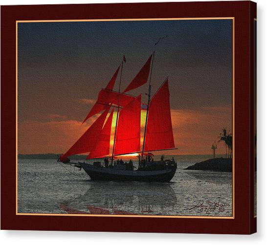 red sails at sunset in Key West Canvas Print by John D Breen