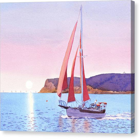 Ocean Cliffs Canvas Print - Red Sails In The Sunset Pt Loma by Mary Helmreich