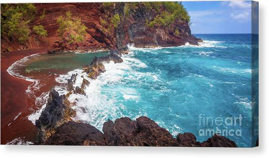 Splashy Canvas Print - Red Sand Beach Panorama by Inge Johnsson