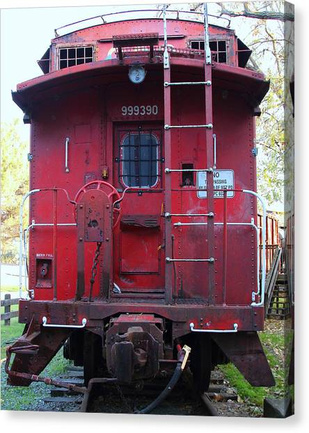 Old Caboose Canvas Print - Red Sante Fe Caboose Train . 7d10476 by Wingsdomain Art and Photography