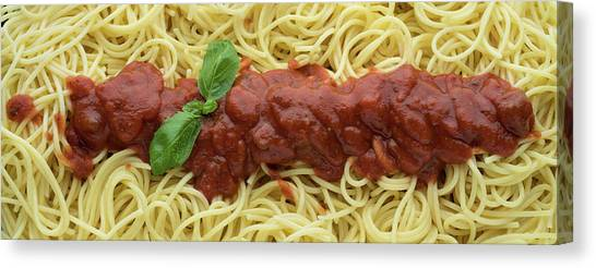 Spaghetti Canvas Print - Red Sauce And Spaghetti Panorama by Steve Gadomski