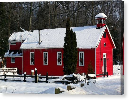 Red Schoolhouse At Christmas Canvas Print