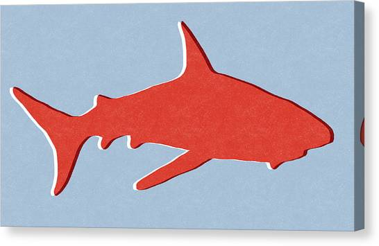 Jaws Canvas Print - Red Shark by Linda Woods