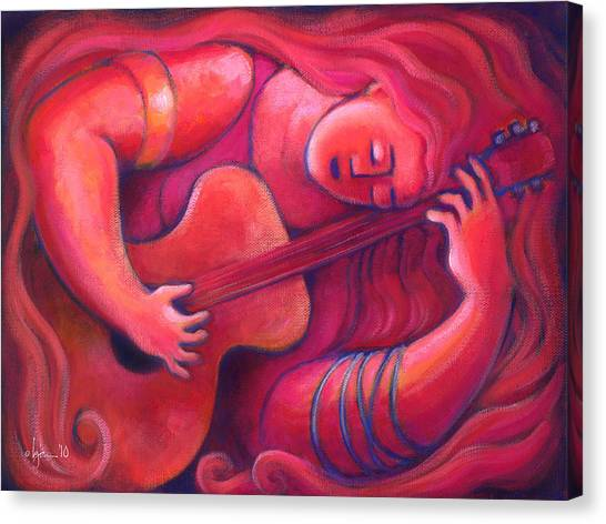 Red Sings The Blues Painting 43 Canvas Print by Angela Treat Lyon