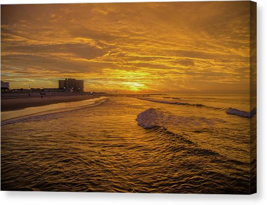 City Sunrises Canvas Print - Red Skies Over Ocean City New Jersey by Bill Cannon