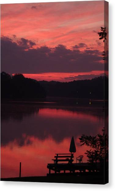 Red Sky At Morning---3 Canvas Print by Rich Caperton