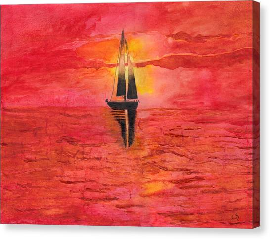 Red Sky At Night Sailors Delight Watercolor Canvas Print