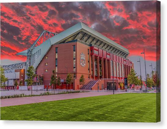 Liverpool Fc Canvas Print - Red Sky Over Anfield by Paul Madden