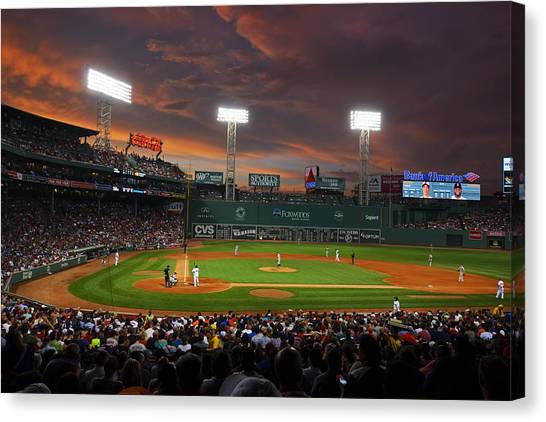 Boston Red Sox Canvas Print - Red Sky Over Fenway Park by Toby McGuire
