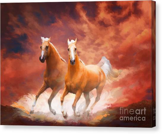 Canvas Print featuring the painting Red Sky Run by Melinda Hughes-Berland