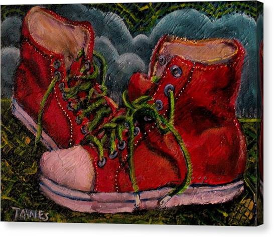 Red Sneakers Canvas Print