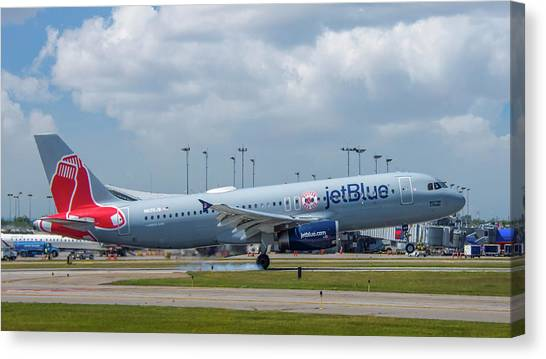 Jetblue Canvas Print - Red Sox In Buffalo by Guy Whiteley