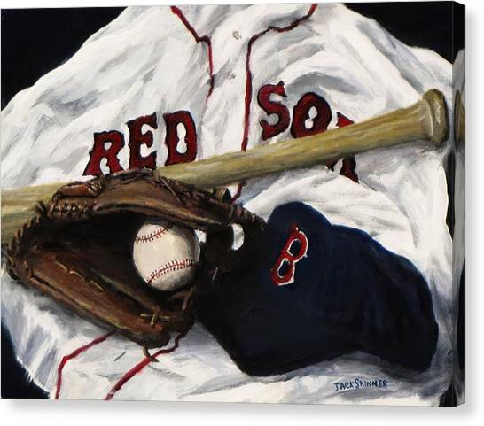 Baseball Canvas Print - Red Sox Number Nine by Jack Skinner
