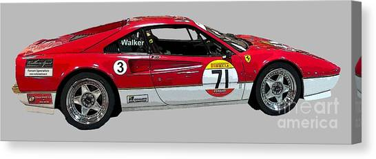 Red Sports Racer Art Canvas Print