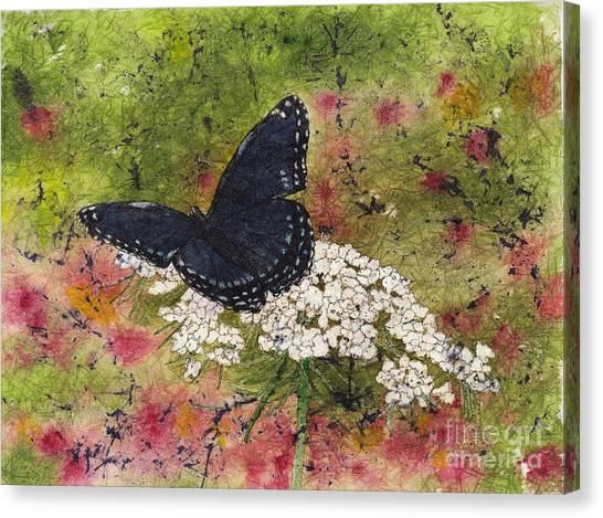 Red Spotted Purple Butterfly Queen Annes Lace Batik Canvas Print